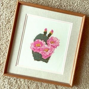 Vintage cactus and floral needlepoint